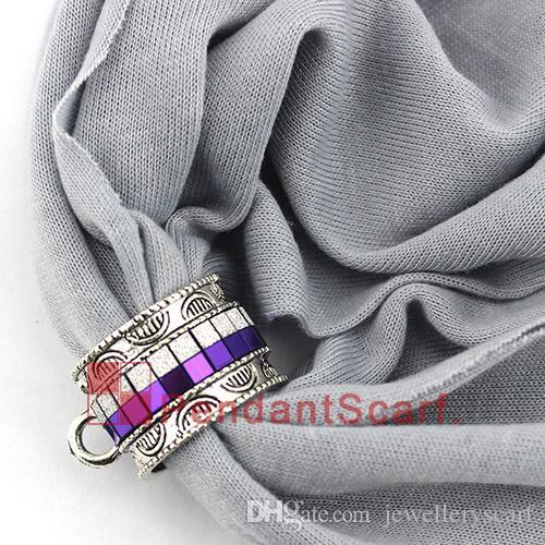 New Design DIY Pendant Scarf Jewelry Accessories Metal Charm Royal Blue Necklace Scarf Slide Bails Tube, AC0381C