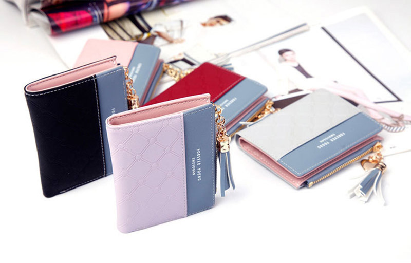 Women Wallet Female Short Paragraph Coin Purse Color Wallet Women Small Fold Wallets Tassel Zipper Button Bag Credit Card Holder (1)