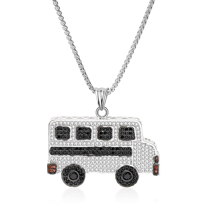 BUS SCOLAIRE Argent Collier Pendentif Ornement Creative Bijoux Cadeaux d/'anniversaire