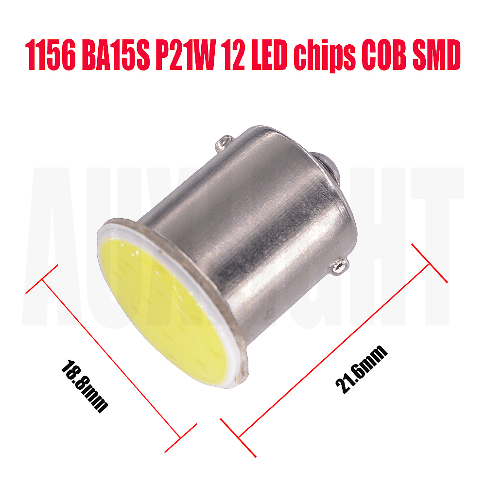 100x Super Bright 1156 12chips BA15S P21W LED Bulbs Car Lights Turn Signal Light R5W COB LEDs Automobiles Lamp 12V
