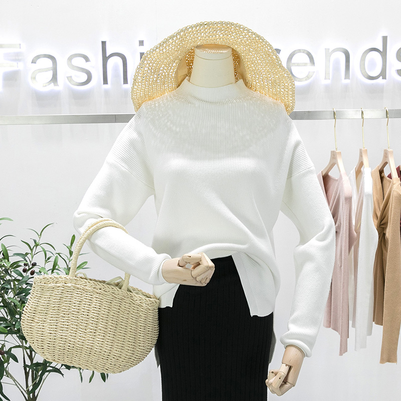 2019 GIGOGOU Autumn Winter Oversized Turtleneck Women Sweater High Low Lem Loose Knitted Pullovers Tops Pull Femme Soft Jumper Jersey MX191101 From