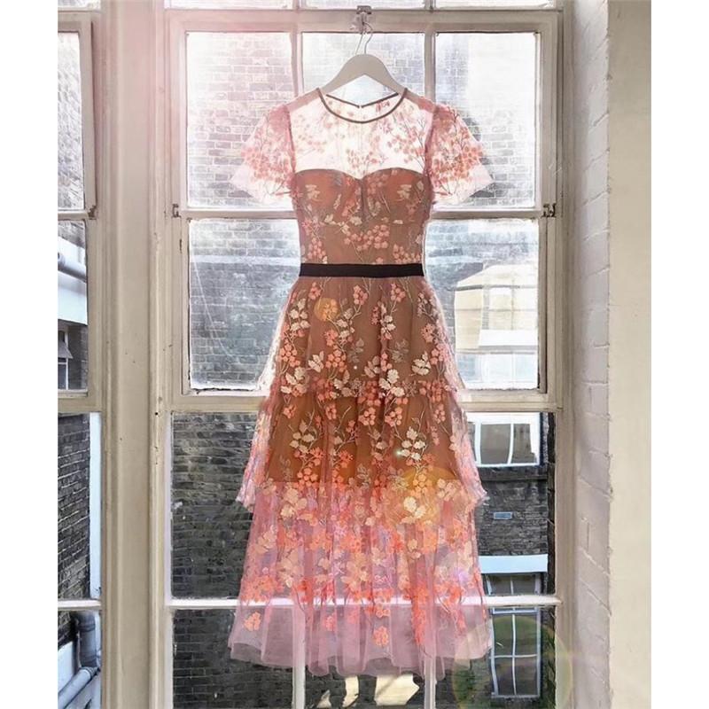 2019 New Summer Sexy Dresses Women Party Night Club Dress Floral Embroidery Short Sleeve Elegant Ruffles Mesh Long Dress