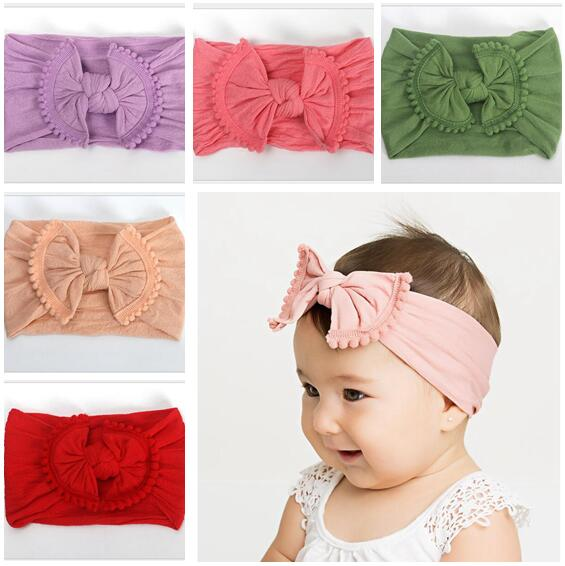 2Pcs Newborn Baby Soft Nylon Tassel Bow Hairband Kids Solid Hair Headwrap Turban