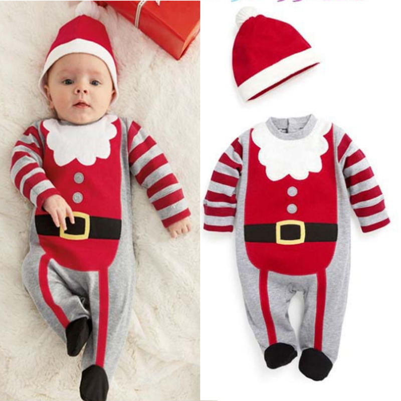 2018 xmas gift for 0-2Y baby 2 PCS Christmas costume Infant bebes o-neck cartoon jumpsuit+hat baby boy girl clothes newborn set