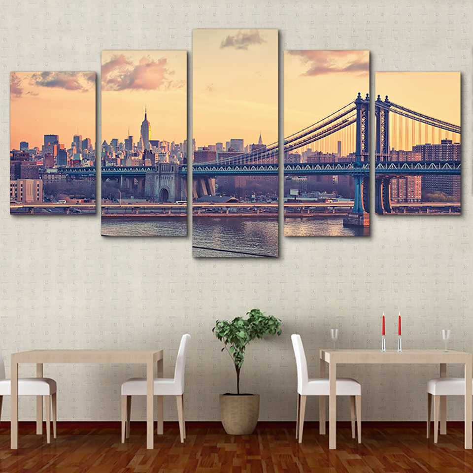 Tableau Paintings Modular Posters Home Decoration Modern 5 Panel Building City Landscape HD Printed Wall Art Pictures Canvas
