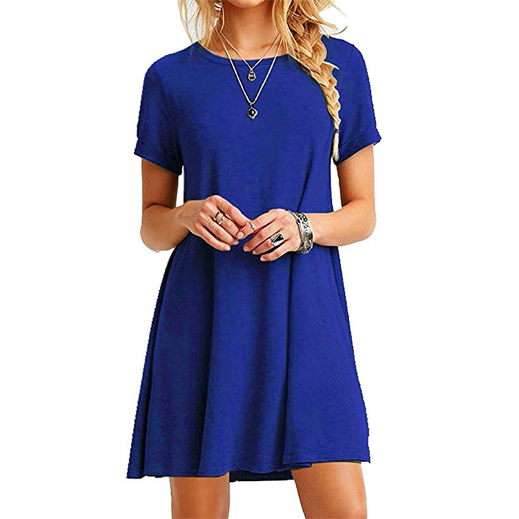 Casual Dress for Woman Knee Length Summer Short Sleeve Solid Color Loose Simple Aline T-shirt Dress Lady A-line Mini Ruffles Beach Dress Top