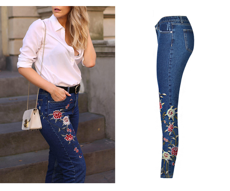 2017 European and American women 3D stereo front and rear side embroidery high waist Slim cowboy nine feet pants fashion wild (3)