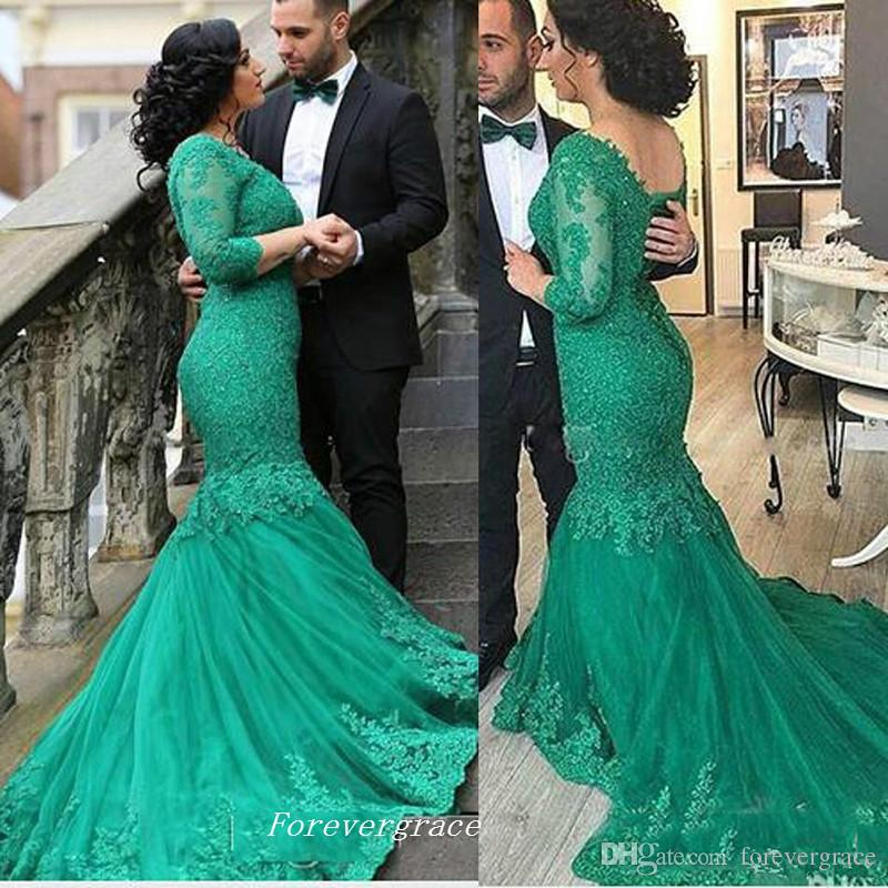 Elegant Emerald Green Long Sleeves Lace Dubai Evening Dress Fashion Mermaid  Tulle Women Wear Special Occasion Dress Party Gown Plus Size Petite ...