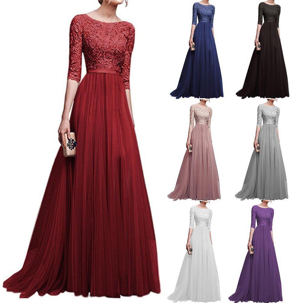 Frauen Formale Hochzeit Brautjungfer Langes Kleid Feste Halbe Hülse  Weibliche Party Kleid Damen Elegante Maxi Spitze vestidos 17