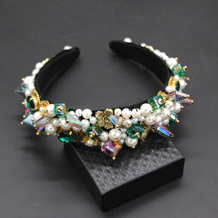Personalidad Estilo de la calle Diadema Barroca Exagerada Perlas de cristal con diadema Pasarela Baile Multicolor Diadema 903 Y19051302