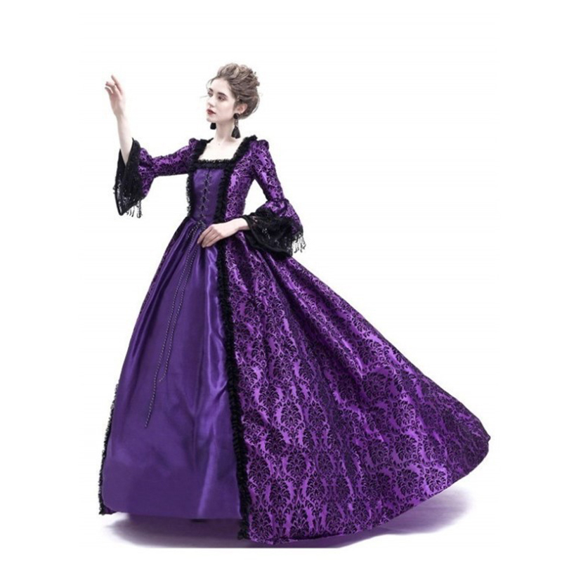 Vintage Lace Costume Medieval Maxi Dress Gothic Flare Sleeve Palace Princess Long Dresses Retro Ball Gown Vestidos T4190614