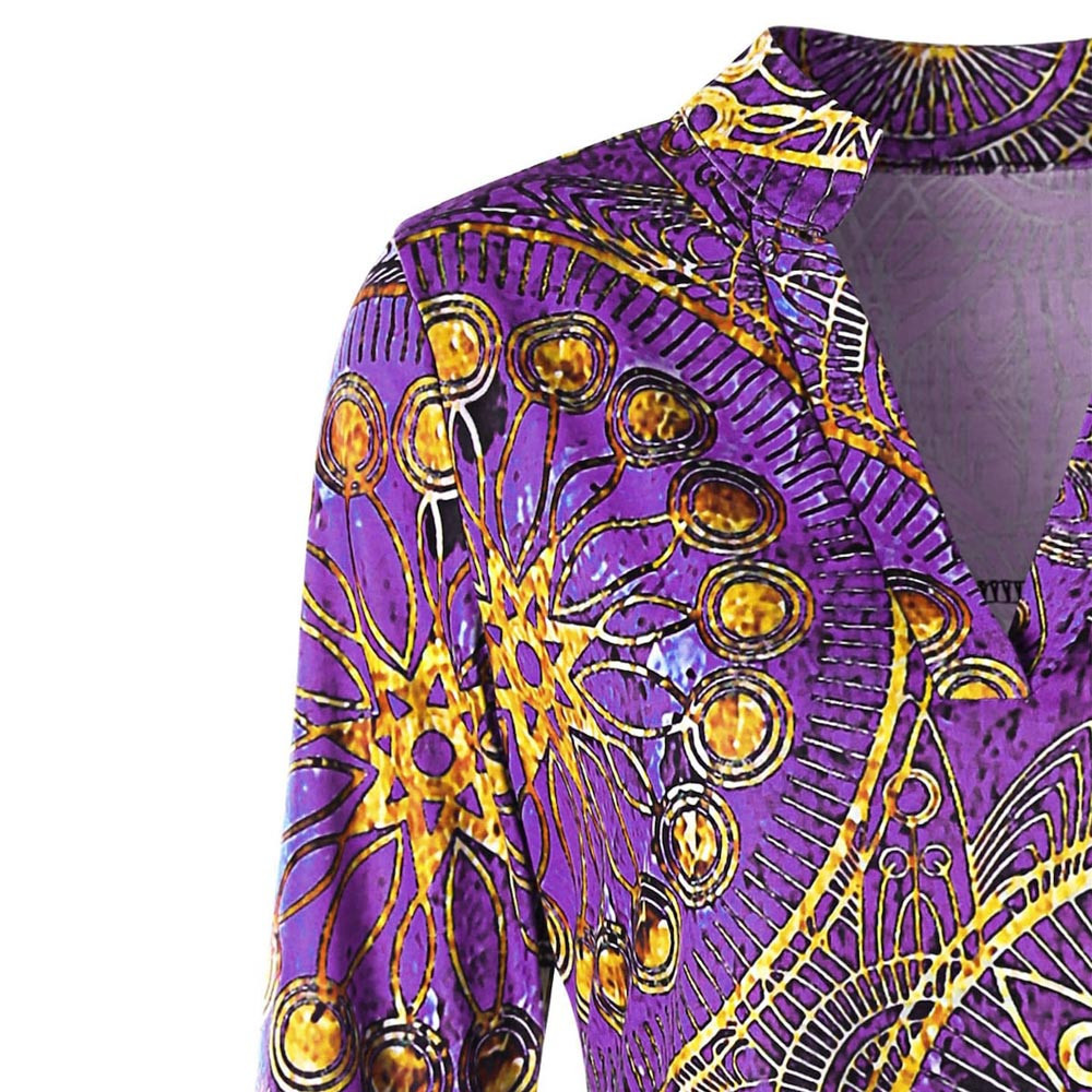 Womens Tops and Shirts Floral 2019 Cotton Women Long Sleeve V-Neck Asymmetrical Ethnic Print Tee Shirt femme vetement