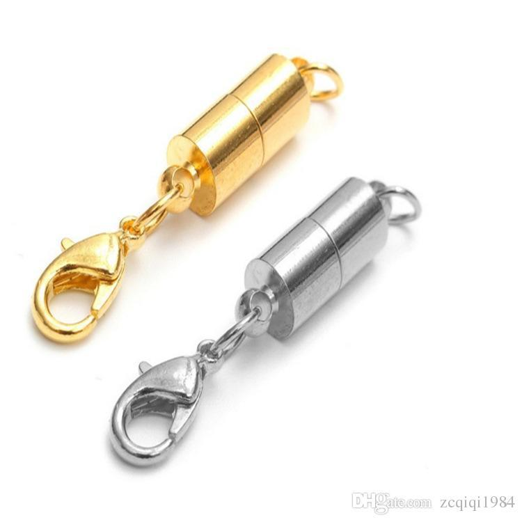 newest Silver/Gold Plated Magnetic Magnet Necklace Clasps Cylinder shaped Clasps for Necklace bracelet Jewelry DIY