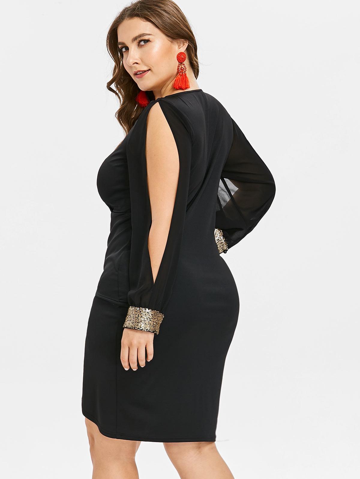 Plus Size Keyhole Neck Sequined Slit Bodycon Dress Autumn Women Clothing Party Dresses Ol Club Dress Vestidos 5xl designer clothes