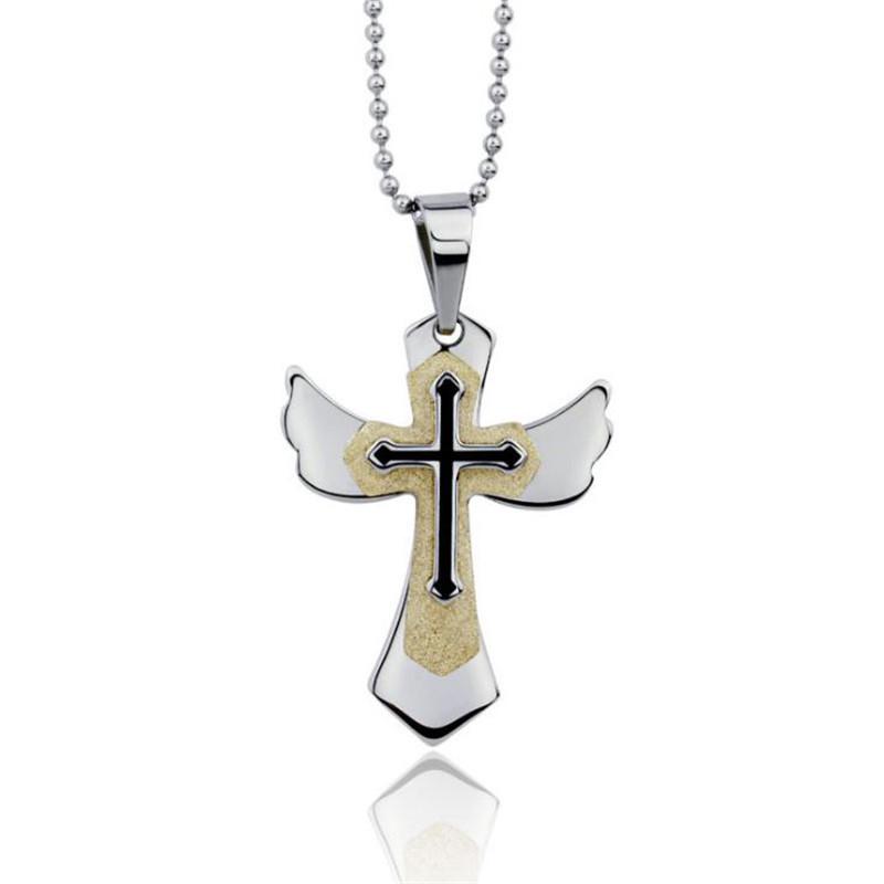 Titanium steel angel wing cross pendant for Men high quality sandblasting wing cross pendant boyfriend gift religious jewelry