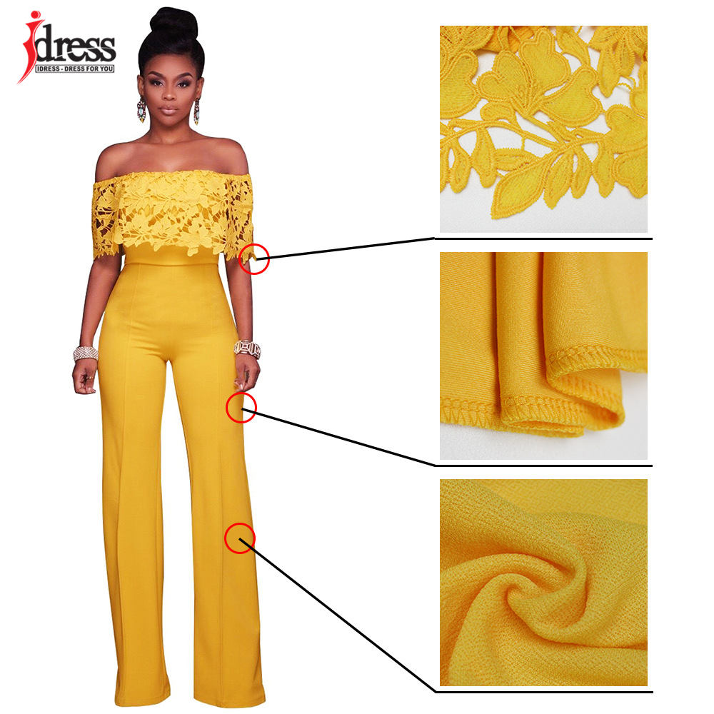 IDress Lace Crochet Rompers Women Jumpsuit Sexy Strapless Bodycon Jumpsuit Wide Leg Black White Yellow Long Pant Romper Overalls (16)