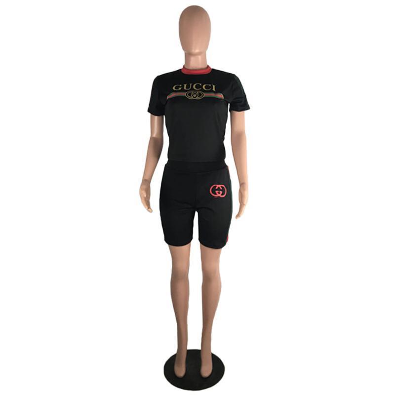 2019 neue stil kleidung designer frauen zweiteilige shorts sets sexy platz brief drucken 2 stück frau set frauen trainingsanzug