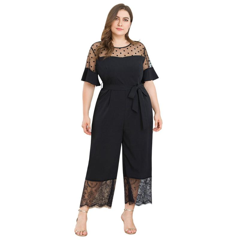XXBlosom Womens Lace Stitching Backless Short Sleeve Wide Leg Casual Rompers Jumpsuits