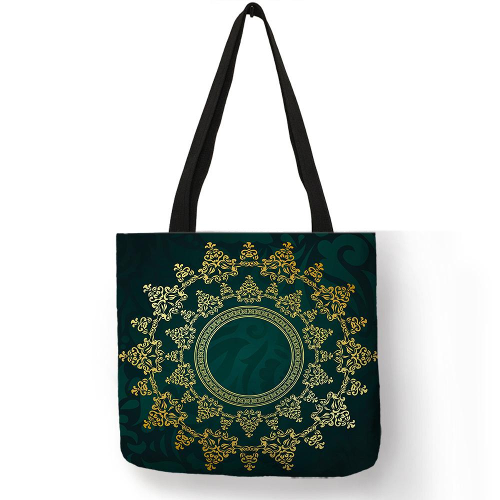 Las bolsas de asas coloreadas azul marino para las señoras de las mujeres Prácticas de compras del recorrido del bolso de la playa Complicated Floral Pattern Cloth Bag