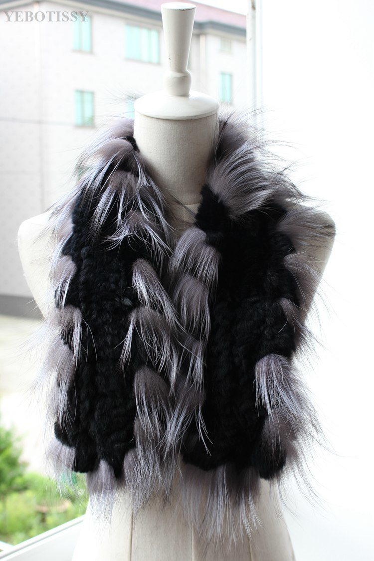 natural rex rabbit fur scarf silver fox fur (1)