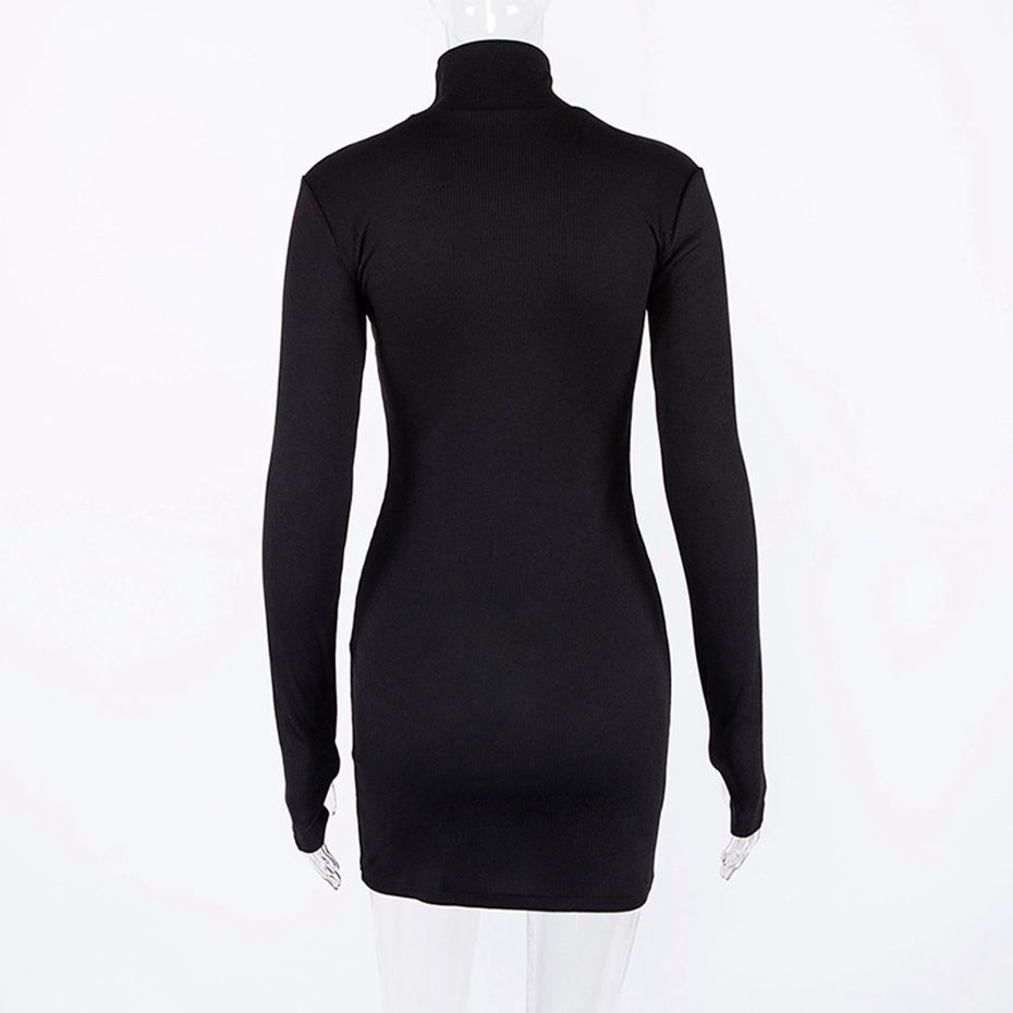 Zkyzwx Spring Turtleneck Long Sleeve Bodycon Dress Womens Elegant Slim Knitted Clothes Neon Green Casual Party Dresses Vestidos Q190511