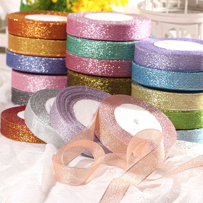 2.5cm*25yards Organza Ribbon Width Glitter Embroidered Ribbons For Wedding Cake Gift Packing Decoration DIY Craft Supplies