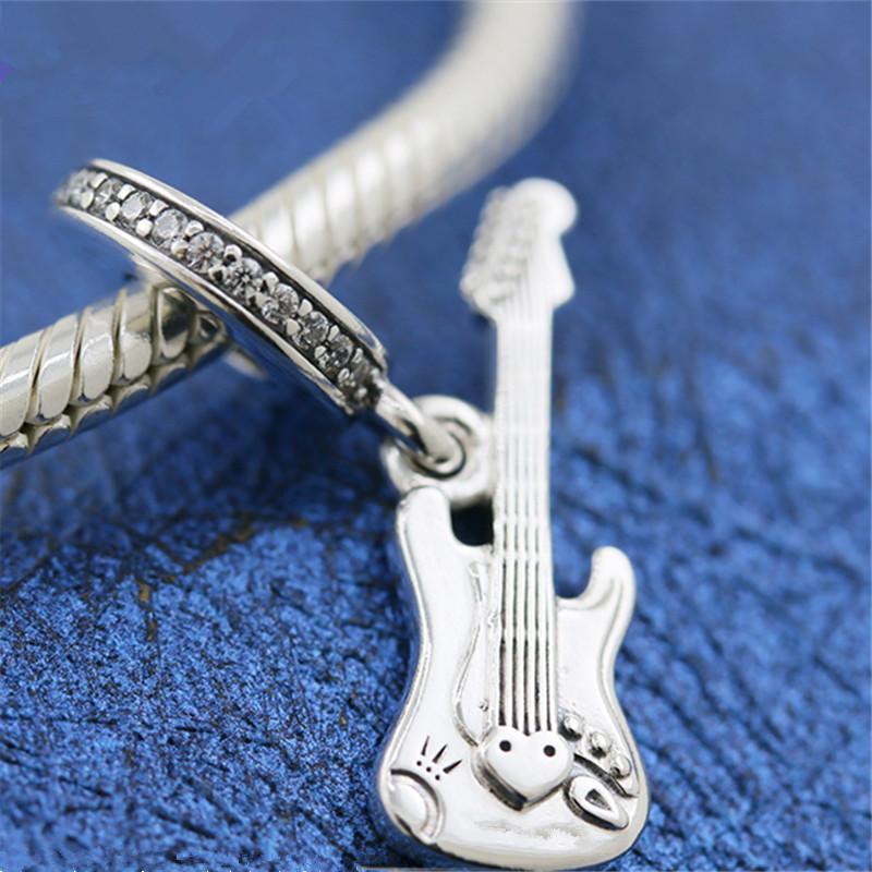 Guitar Multi-Color Rhinestone Musical Instrument Dangle Charm for Euro Bracelets Fashion Jewelry for Women Man