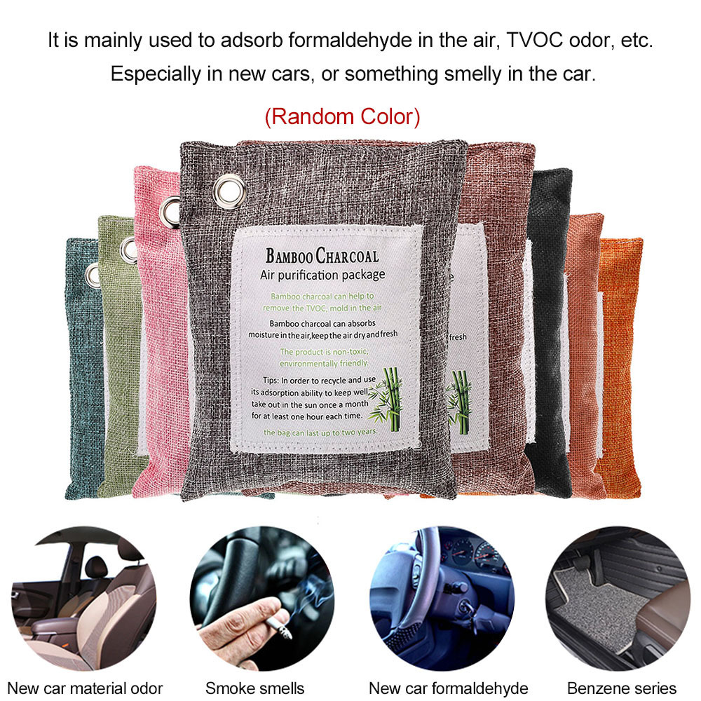 Car Air Purifying Bag 200-Grams Natural Odor Eliminator Fragrance Free Chemical Free Odor Absorber Captures and Charcoal Color