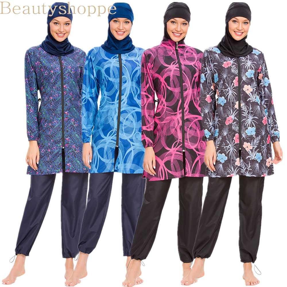 Damen Islamisch Muslim Burkini Badeanzug 3-teilig Bademode Strand Schwimmen