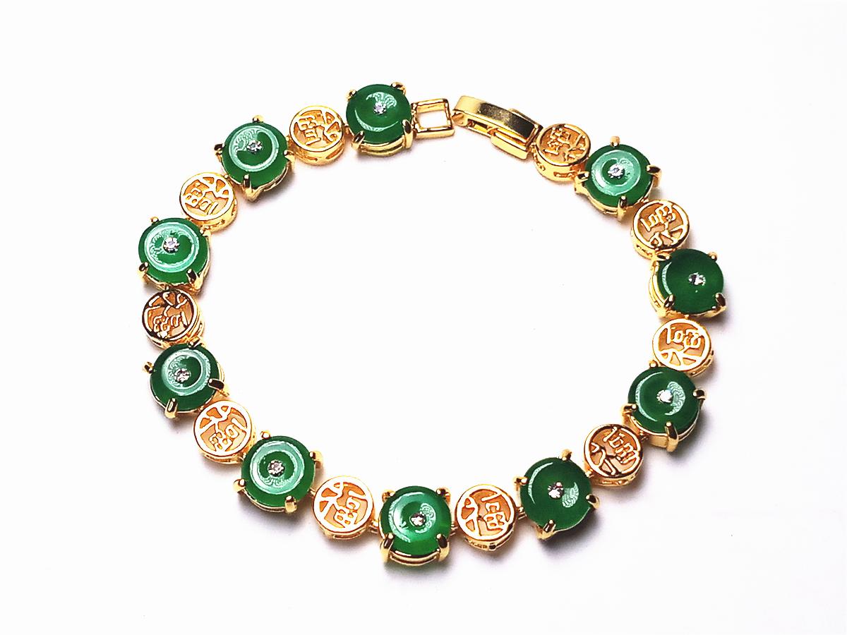 Koraba 14k Plaqué Or Jaune Femmes Vert Jade Pierres Précieuses Pièce Perles Chaîne Guérison Bijoux Bracelet