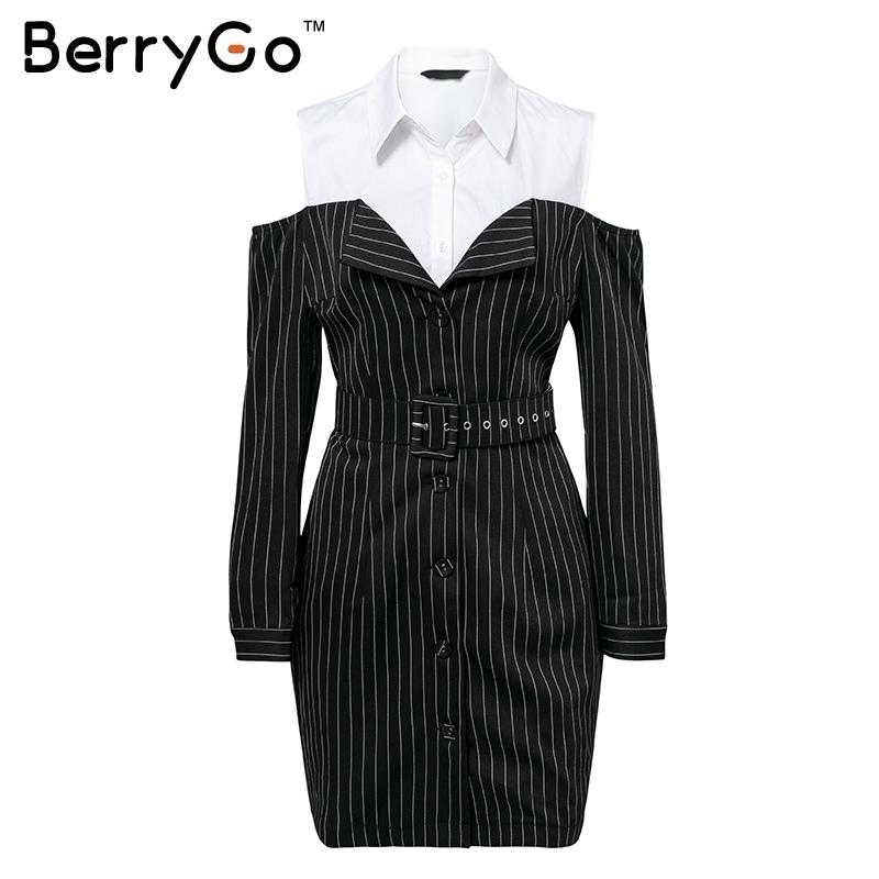 Berrygo Casual Stripe Work Office Ladies Women Dresses Elegant Sash Long Sleeve Mini Dress 2019 Autumn Blazer Winter Dress Shirt MX190727
