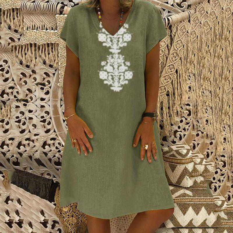 Women Dresses Knee Length Streetwear Fashion Summer Dress Women Plus Size 5XL Cotton Linen Dress Vintage Casual Vestidos Mujer 9