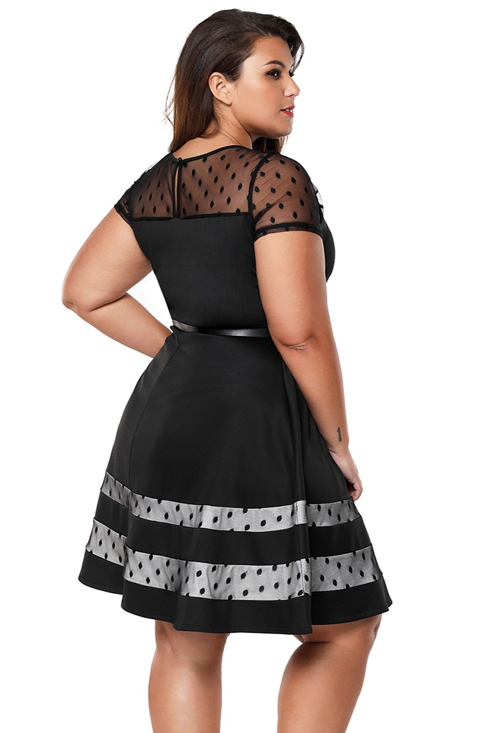 Black-Dotted-Mesh-Insert-Flare-Plus-Size-Dress-with-Belt-LC61970-2-4