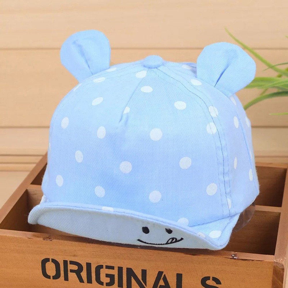 New Soft Hat Cute Infant Kids Bongrace Peak Smiling Face Wave Point Baseball Cap Sunhat Comfortable Touch Quality Gift