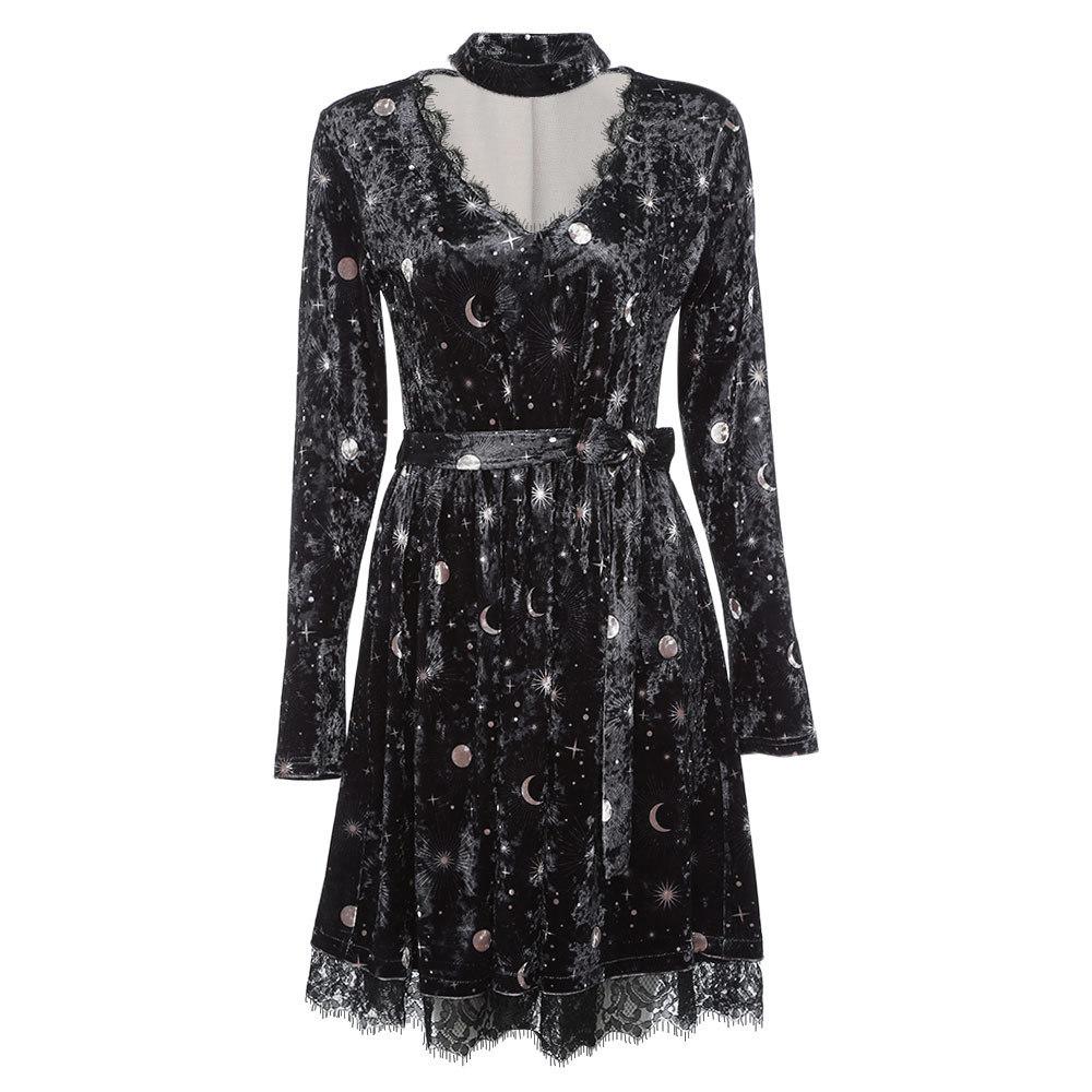 Joineles Women Spring Velour Dress Trendy V Neck Longarm Choker Split Top Belted Moon Pressure Women's Party Dress Vestidos Y19071001