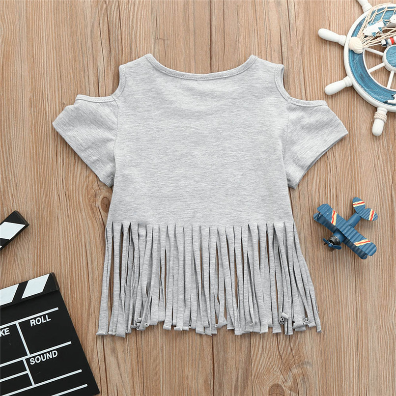 Summer Baby Girl Tops And Tees Toddler Infant Baby Girls Short Sleeve Tassel Off shoulder T-shirt Tops Baby Girl Clothes M8Y21 (5)