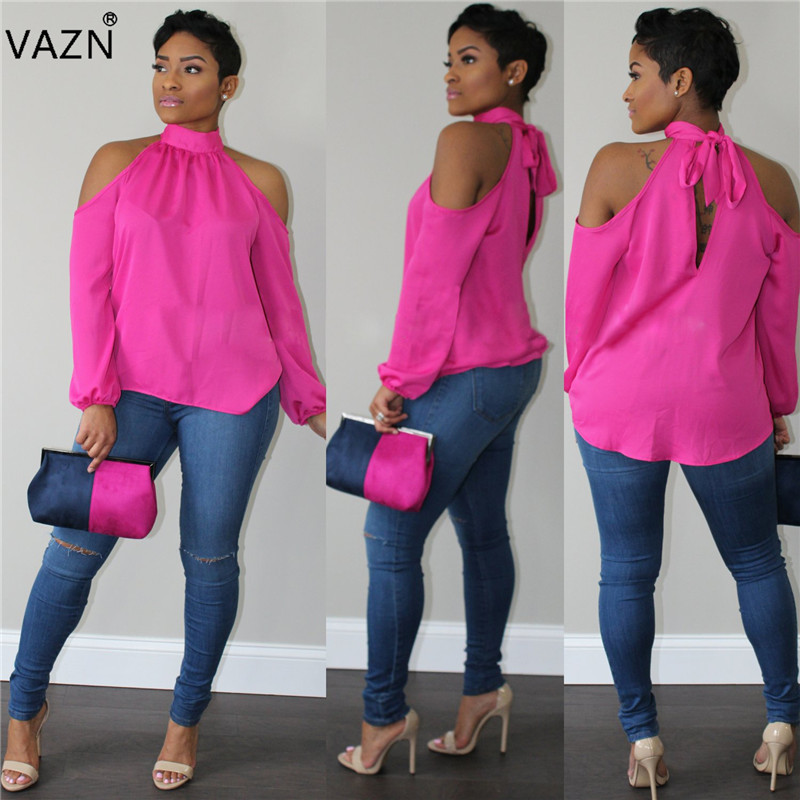 VAZN 2018 Novelty Arrive Best Elegant Sexy Style 2018 Women Tees Solid Halter Full Puff Sleeve Off Shoulder Chiffon Tees 8202 J190424