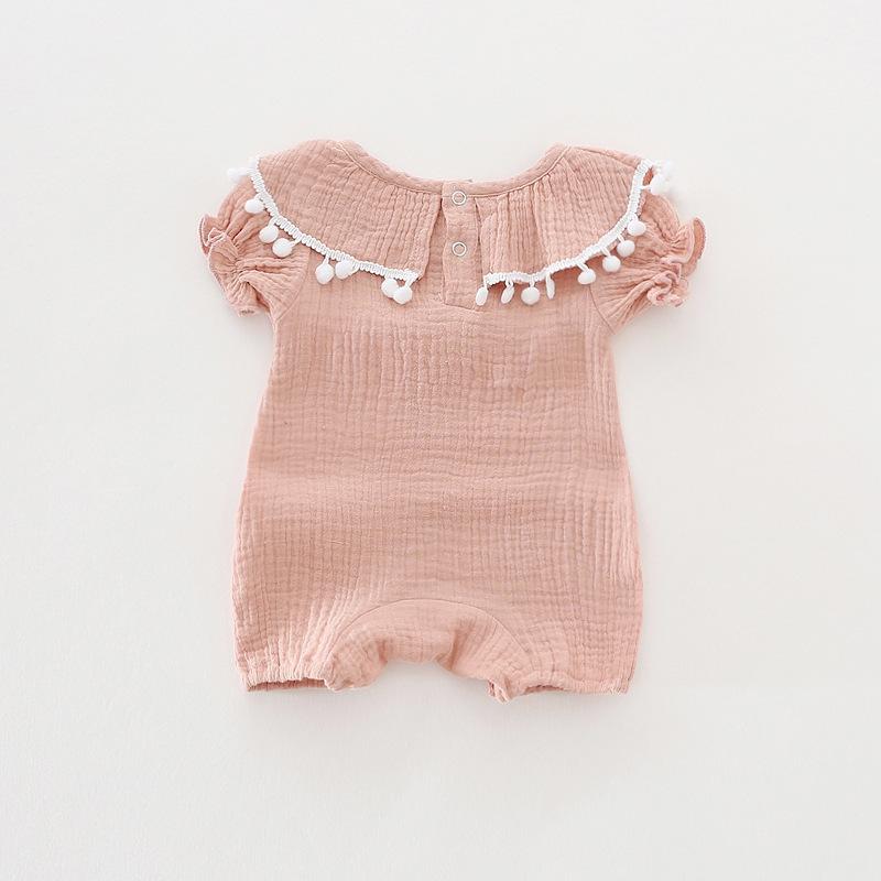 Cute Newborn Baby Girl Romper 2017 Summer short sleeve Princess fur ball Sunsuit One Pieces Tassel Clothes free drop shipping (18)