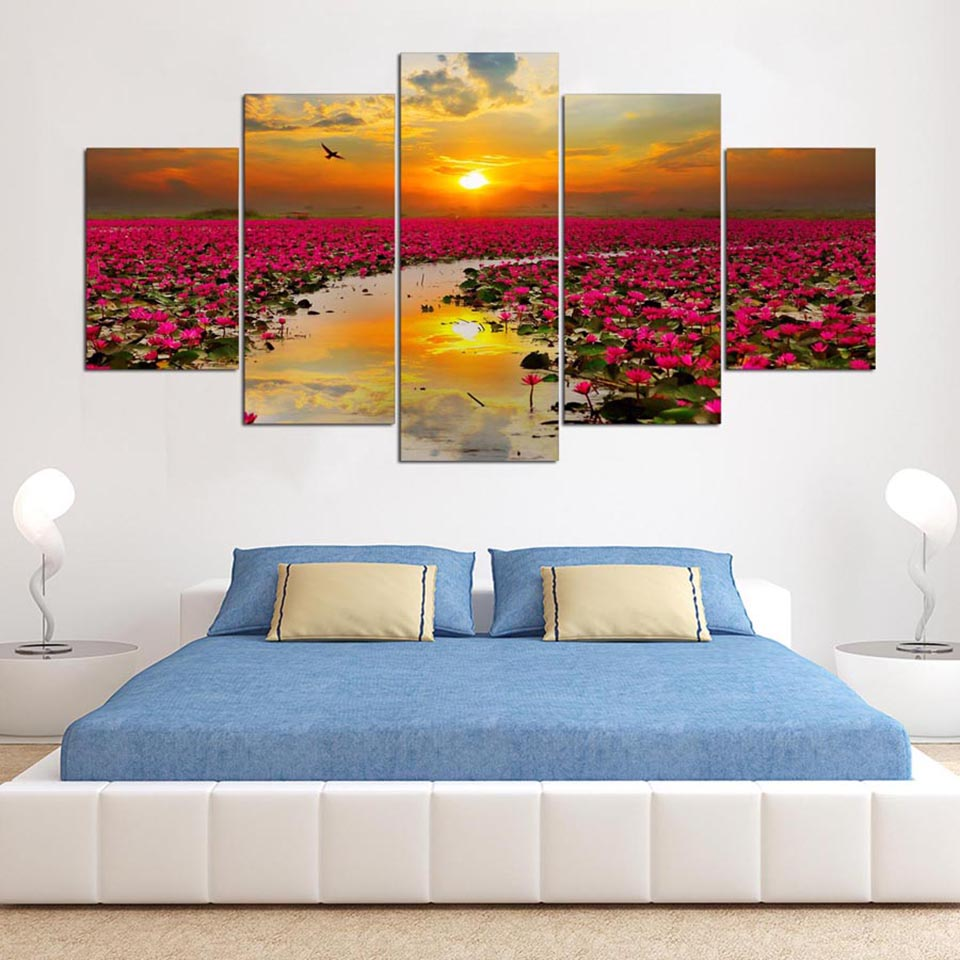 Modern Pictures For Living Room HD Printed Decor Frame 5 Panel Sunset Lotus Flowers Scenery Wall Art Home Canvas Painting Poster