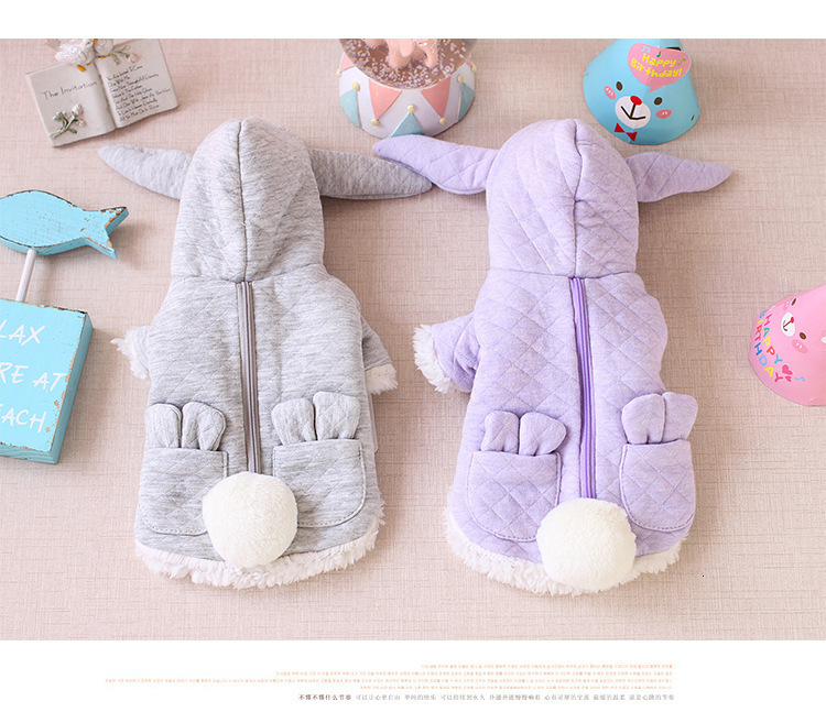 Big Rabbit Ear Dog Clothes Winter Pet Dog Coat Jackets Cotton Puppy Cat Clothing For Small Dogs Hoodie Sweater Costume Wholesale