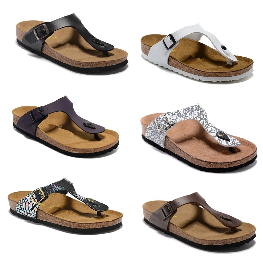 2019 Gizeh Arizona Florida slippers MEN and woman Open Toe Sandals,Summer Beach Slippers Genuine Leather Flats Free Cork slippers SZ34-46