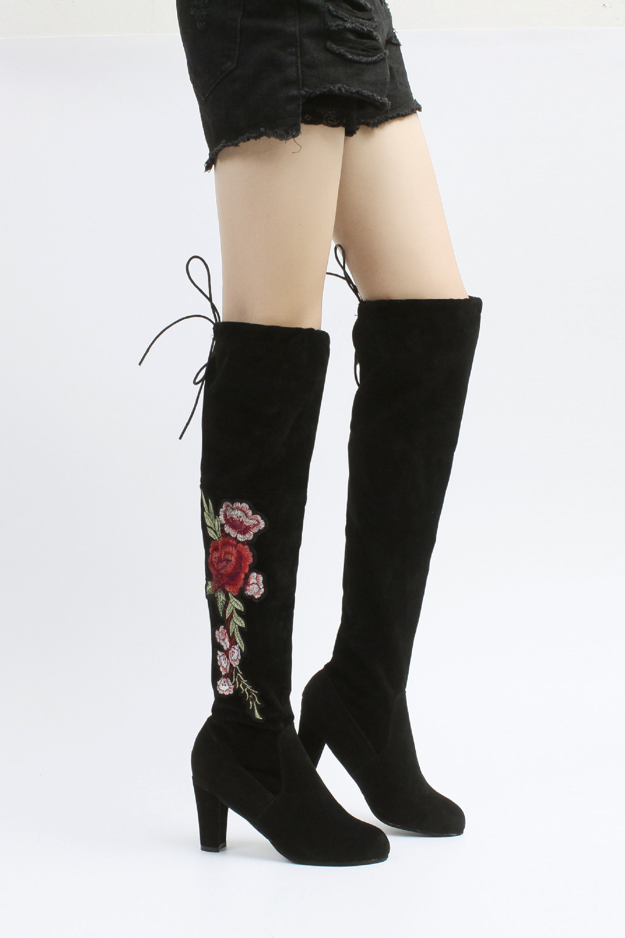 2018 NEW Sucrb Leather Women Over The Knee Boots Lace Up Sexy Hoof Heels Women Shoes Soild Winter Warm Size
