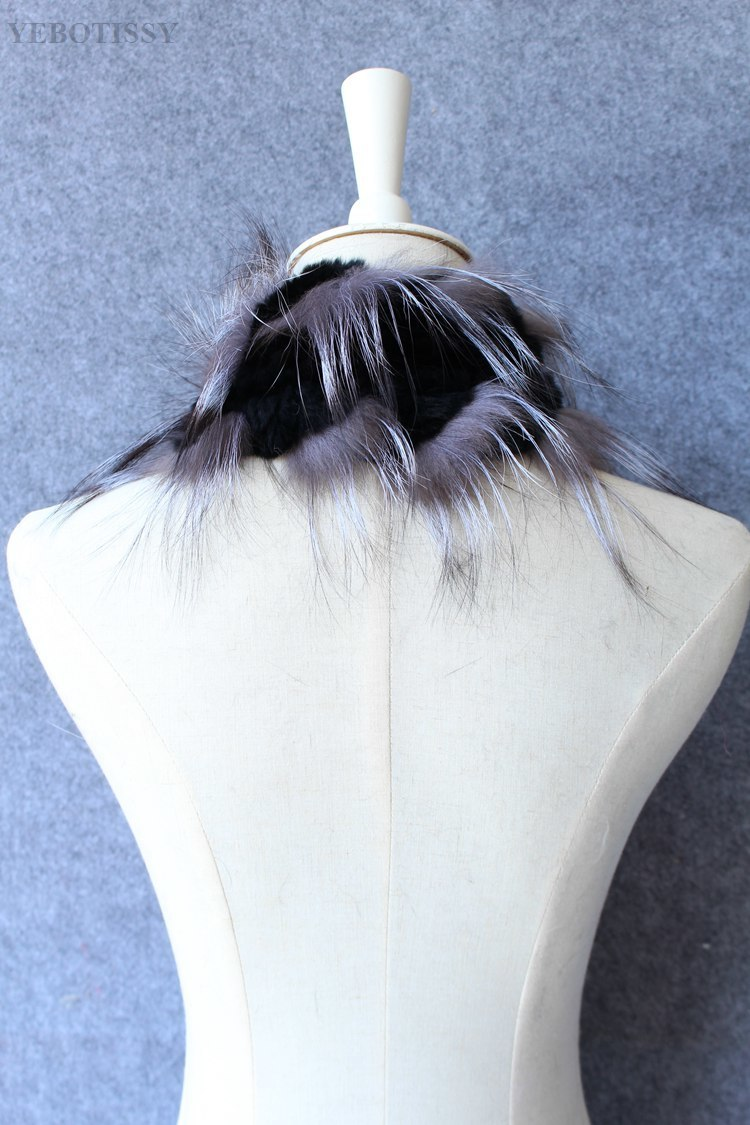 natural rex rabbit fur scarf silver fox fur (5)