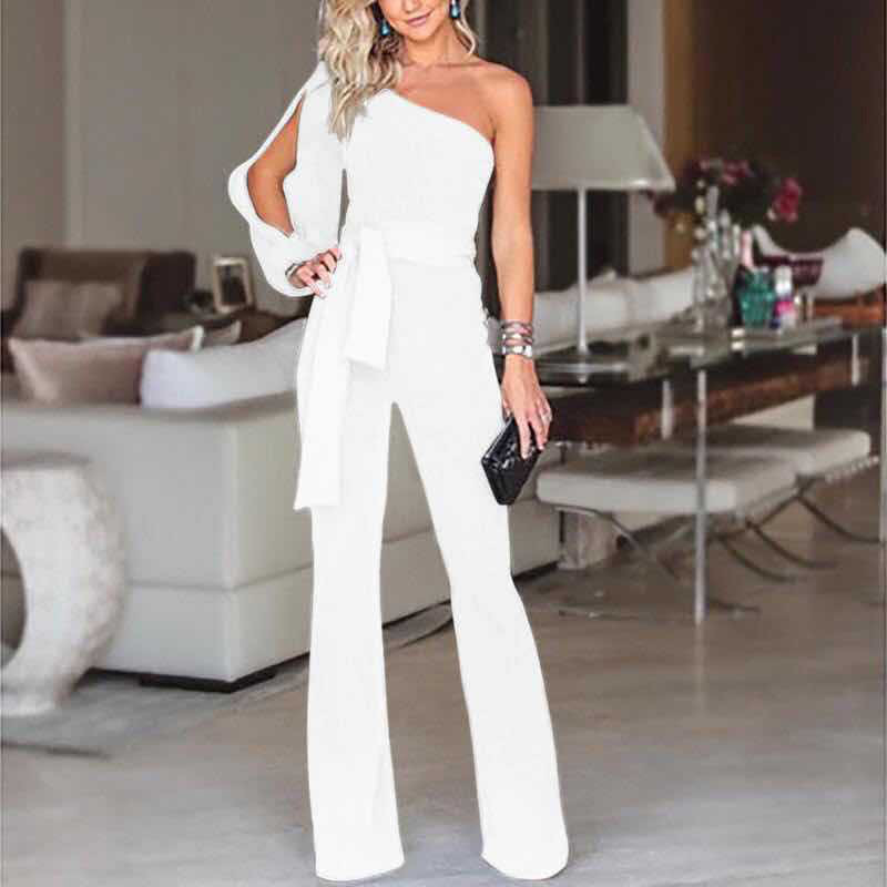 2018 Summer Women Fashion Bodysuit Ladies Long Sleeve One Shoulder Bandage Jumpsuit Black Red White Woman Rompers Y19060501