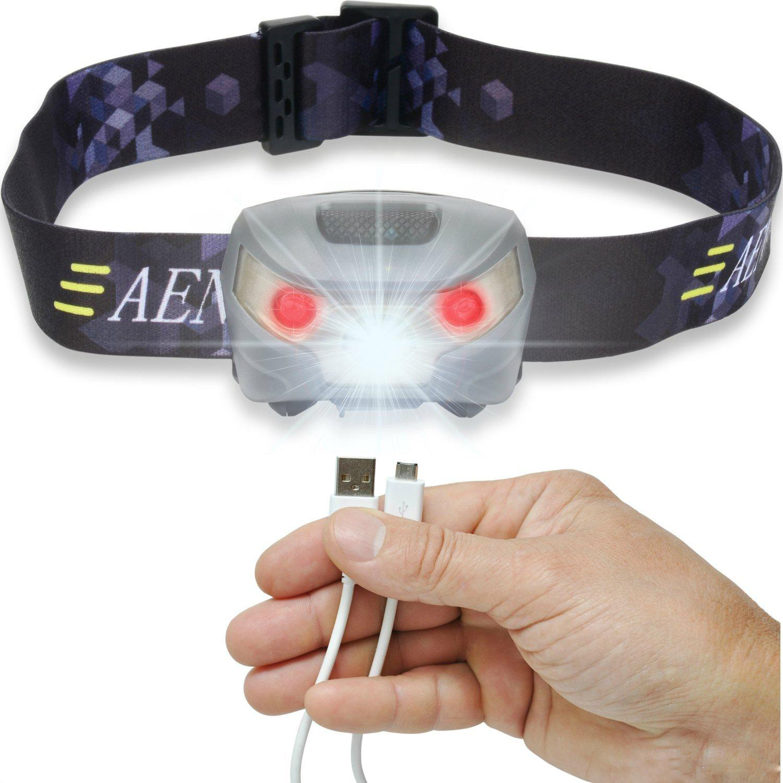 Blanco Mini LED Faro Sensor Inteligente Ciclismo Linterna USB Carga Impermeable LED Rojo Luz infrarroja de la Cabeza para Caminatas al Aire Libre