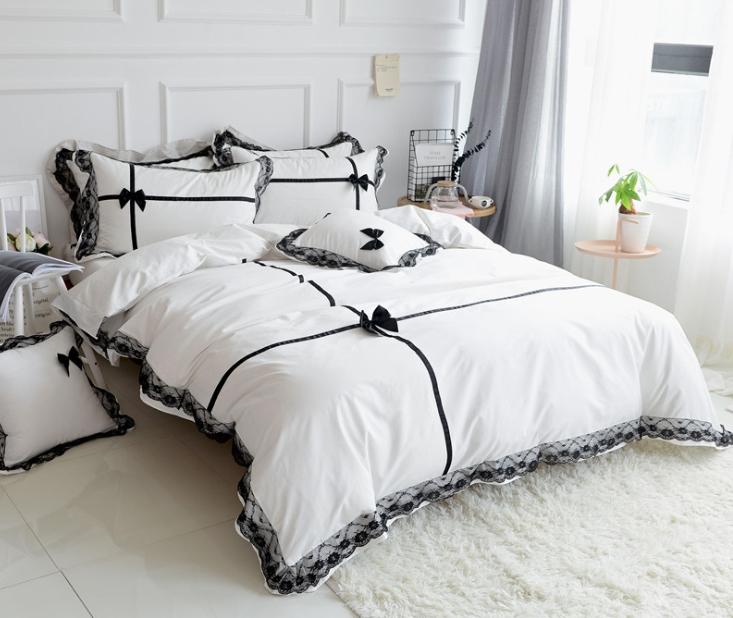Cotton Princess Pink White Grey Black, Designer Bedding Sets Grey