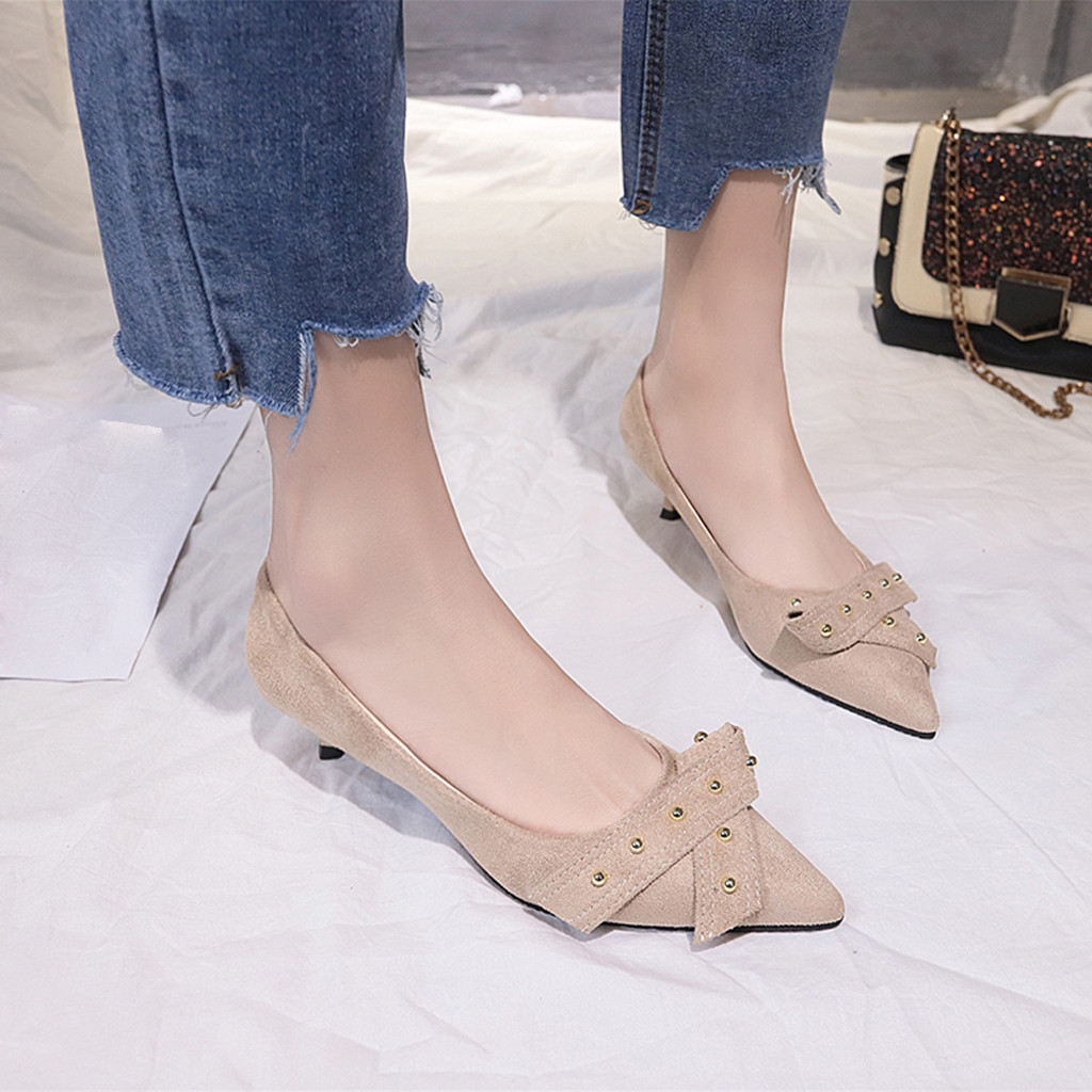 Dress Shoes Women's Pointed High Thin Heels Wild Bow Rivet Solid Slip-on Fashion Shallow Mouth Zapatos De Mujer