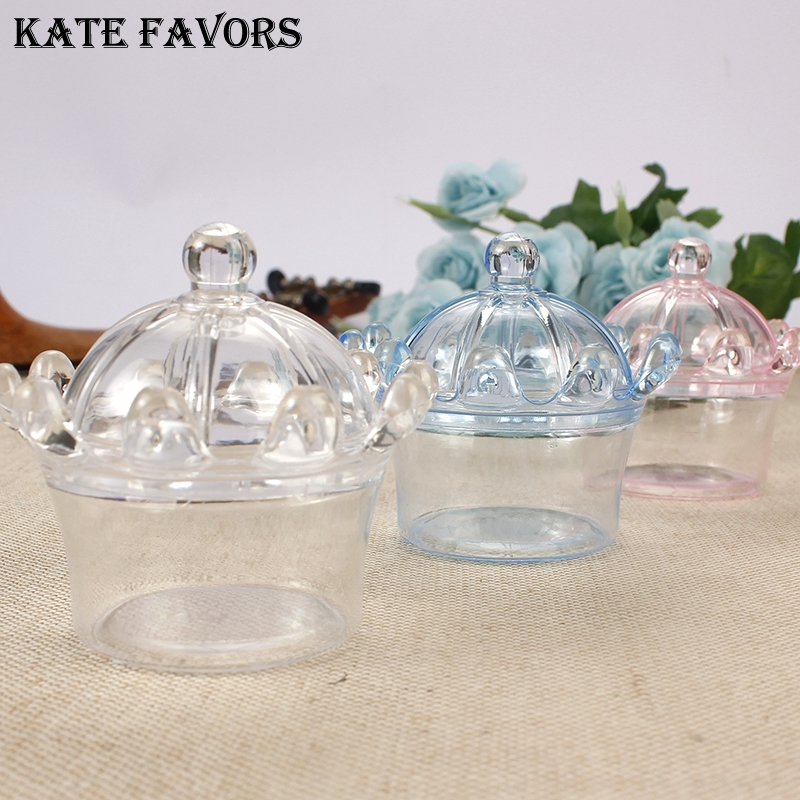 12Pcs Candy Box Transparent Plastic Decorative Boxes Cake Saucer Shaped Snack Container 1#