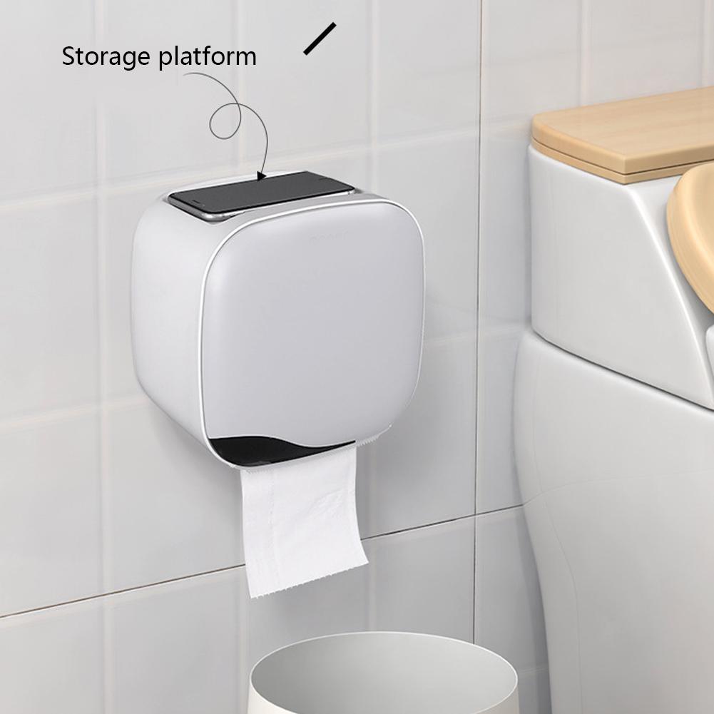 Rangement De Papier Toilette box tissu imperméable à l'eau de bain mural en plastique toilette  porte-papier boîte de rangement en papier durable rouleau porte-serviettes