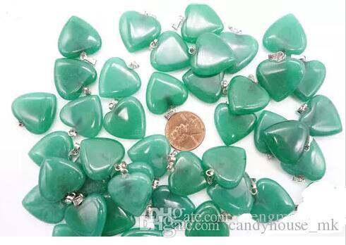 New fashion men/women send color mix colors of natural stone necklace pendant heart-shaped pendant necklace